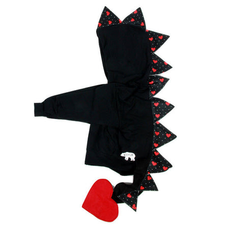 Baby/Toddler/Kids Black Dragon Hoodie - Red Shimmer Spikes
