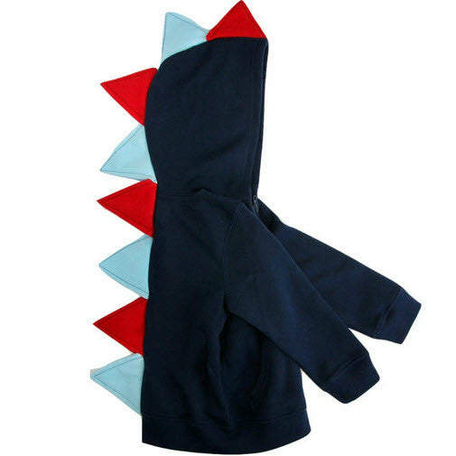 Toddler Boy Dino Hoodie - Red and Blue Dinosaur Hoodie for Birthday Boy