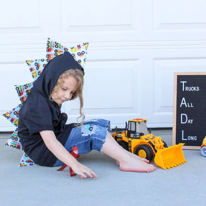 preschool dinosaur spike construction truck sweater
