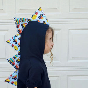 boy dinosaur hoodie with construction vehicle spikes