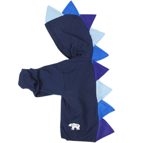 Kids Navy Blue Ombre Dino Hoodie - Navy Blue Ombre-saurus - Wolfe and Scamp