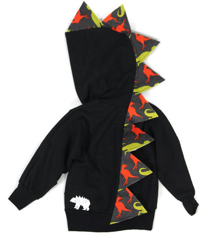 Baby Toddler Kids Novelty Gray Dinosaur Hoodie - Yellow, Blue and Black and White Stripes