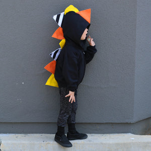 *LIMITED EDITION* Halloween Candy Corn Dino Hoodie - Black Jacket - Wolfe and Scamp