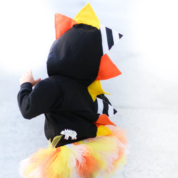 Candy Corn Halloween Dinosaur Hoodie for Babies, Toddlers and Kids - Honeyskull Collab - Wolfe and Scamp