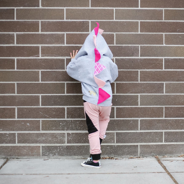 Girly Pink Toddler Girl Dino Hoodie - Kids Pink Dinosaur Hoodie - Wolfe and Scamp