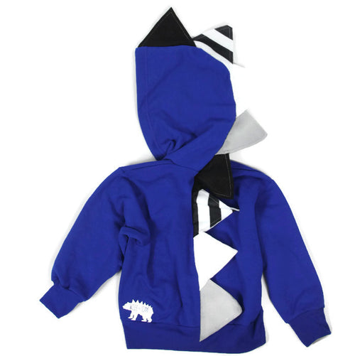 Baby Toddler Kids Stripe Spikes Dinosaur Hoodie - Royal Blue Stripes - Wolfe and Scamp