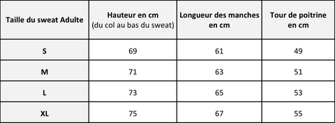 Guide des tailles adulte Chat-Malo - Sweat adulte coton
