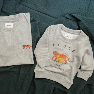 Duo Tigre du Bengale sweat enfant et tee-shirt adulte