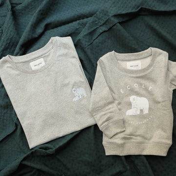 Duo Ours blancs sweat enfant et tee-shirt adulte