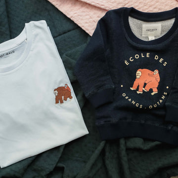 Duo Orangs-outan sweat enfant et tee-shirt adulte