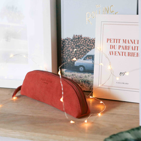 Chat-Malo Paris - trousse enfant et adulte - cuir rouge