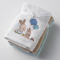 Face washer - Kids Embroidered 3 pk