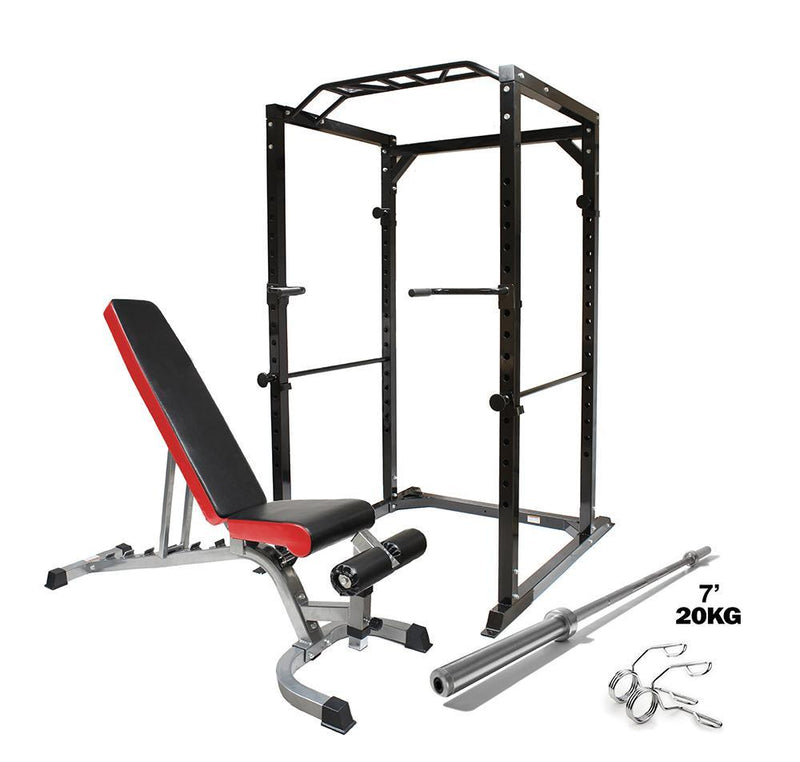 Buy Premium Strength Power Package - Bench, Barbell Bar & Rack
