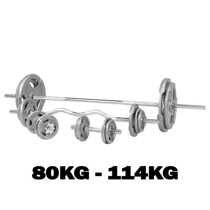 Buy TnP Accessories® Barbell Dumbbell Curl Bar Tri Grip Weights Set 1 Inch 80Kg