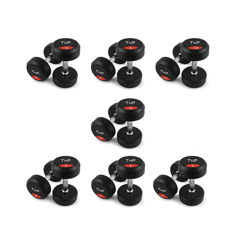 Buy TnP Accessories Round Rubber Dumbbells - 8Kg Pair