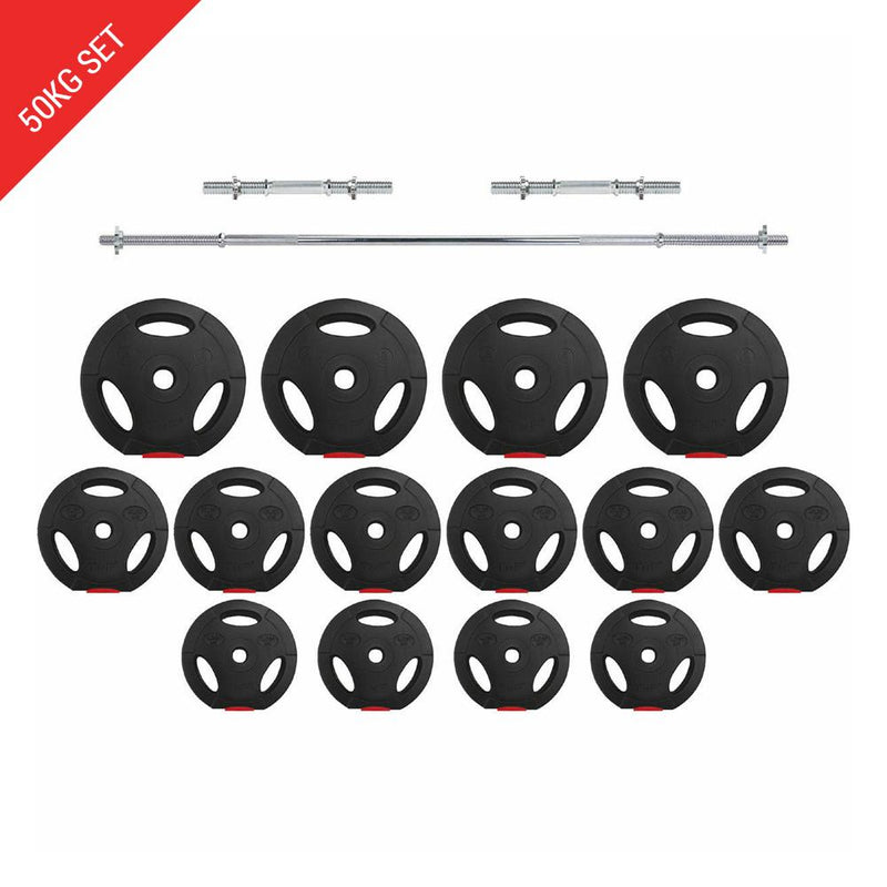 Buy Tri-Grip Barbell Dumbbell Weight Plate Set - 50Kg