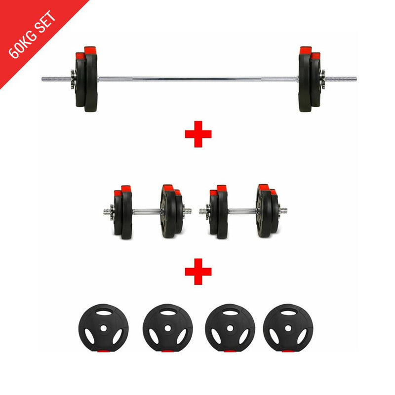 Buy Tri-Grip Barbell Dumbbell Weight Plate Set - 60Kg