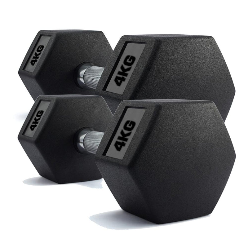 Buy TnP Accessories Hex Dumbbells Rubber Encased Weights (Pair) 4Kg