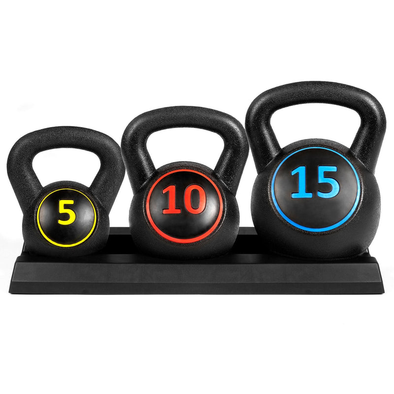 Buy Kettlebell Weights Set W/Base Rack 5lb 10lb 15lb