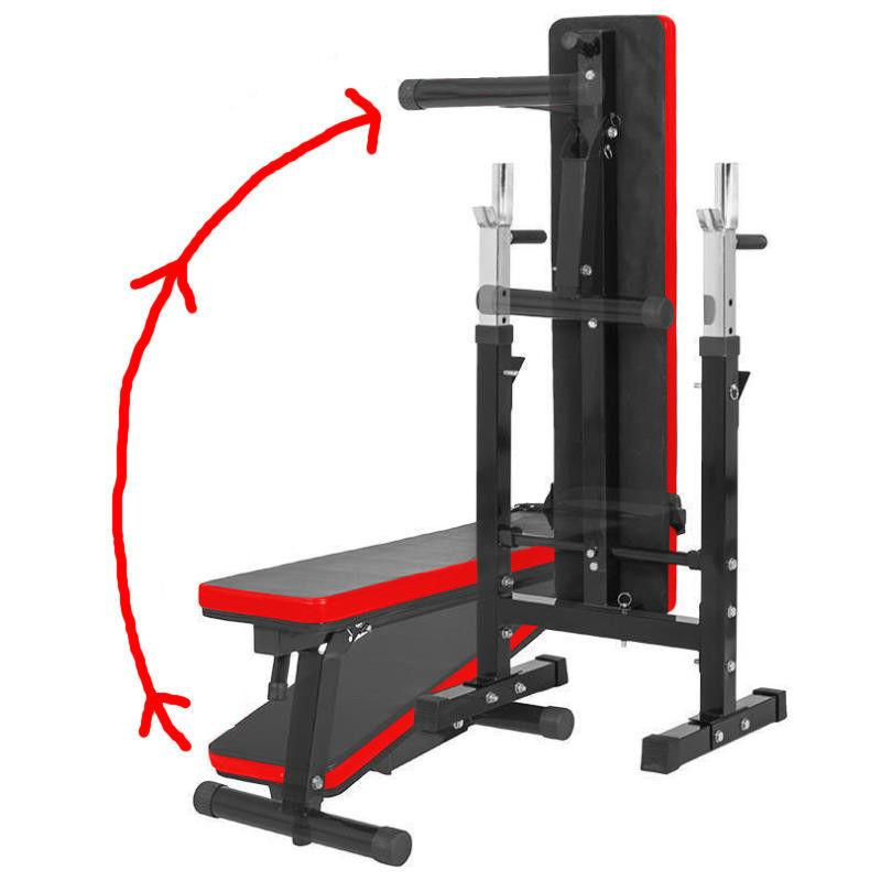 Buy TnP Accessories Folding Flat Weight Bench with Dipping Station and Barbell Rack