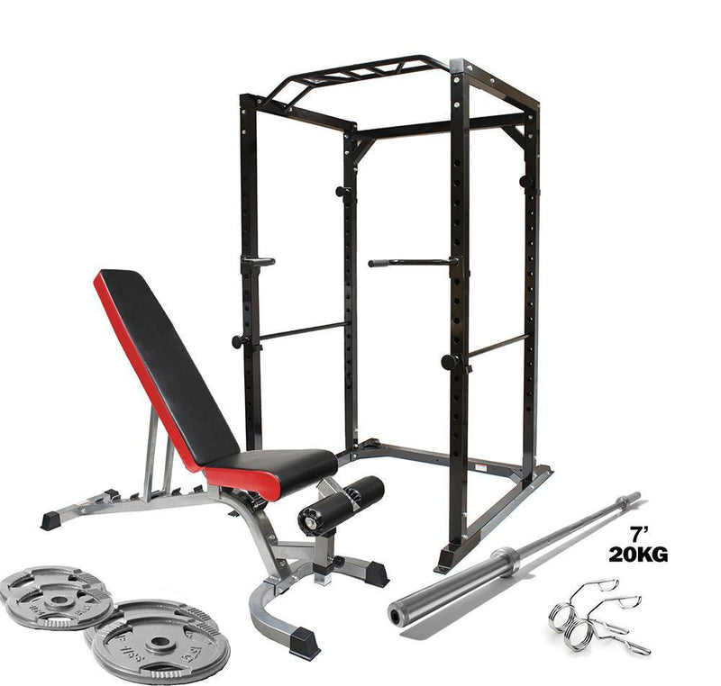Premium Strength Power Package - Bench, Barbell, Weights & Rack - TnP Accessories