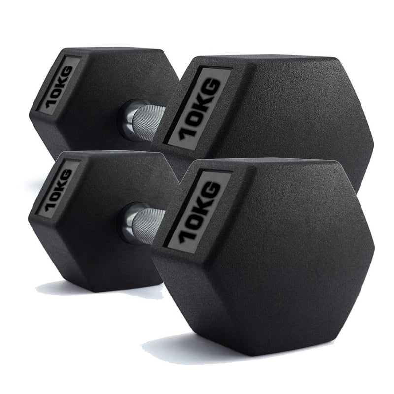 Buy Hex Dumbbells Rubber Encased Weights (Pair) 10Kg
