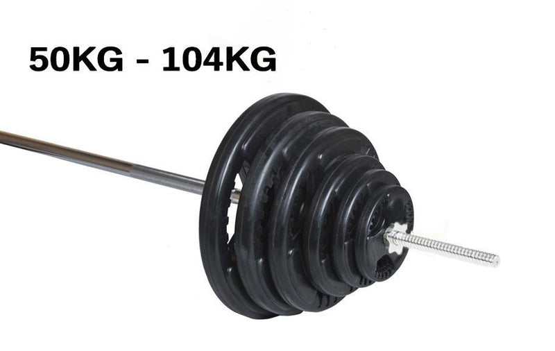 Buy TnP Accessories® Tri-Grip 1 Inch Rubber Barbell Weight Plates Disc Barbell Set 74kg