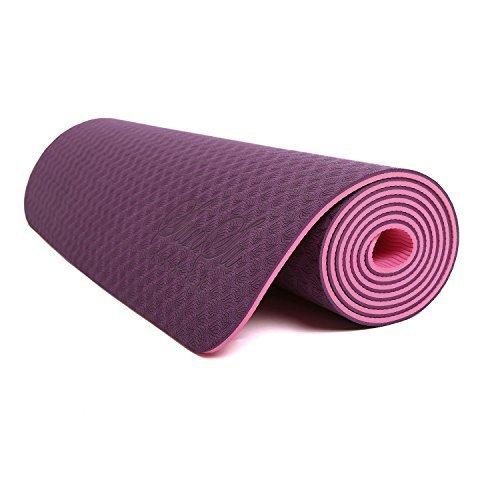 Buy 6mm Yoga Mat Non Slip TPE Exercise Mat - Plum