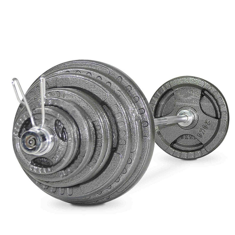 Buy TnP Accessories Tri-Grip Cast Iron Olympic Barbell Set 100Kg