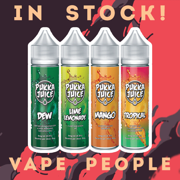 4 Re-branded flavours by Pukka Juice are in stock along with classic vape juices!