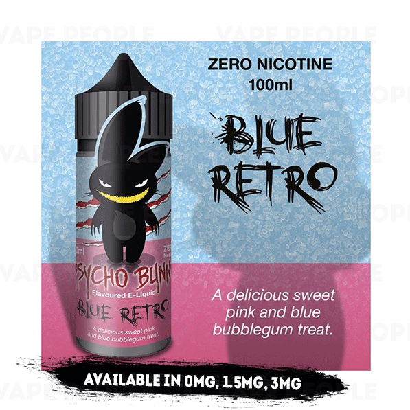 Blue Retro vape liquid by Psycho Bunny - 100ml Short Fill