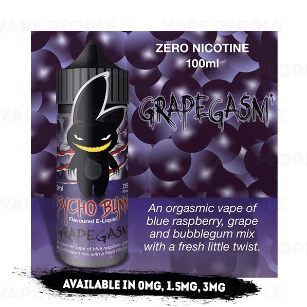 Grapegasm vape liquid by Psycho Bunny - 100ml Short Fill - Buy UK
