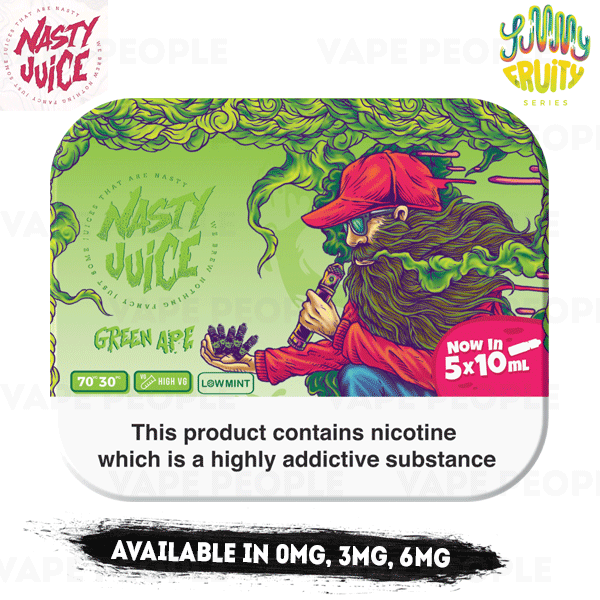 Green Ape vape liquid by Nasty Juice - 5 x 10ml - Buy UK