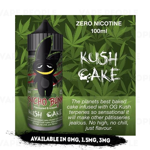 Kush Cake vape liquid by Psycho Bunny - 100ml Short Fill