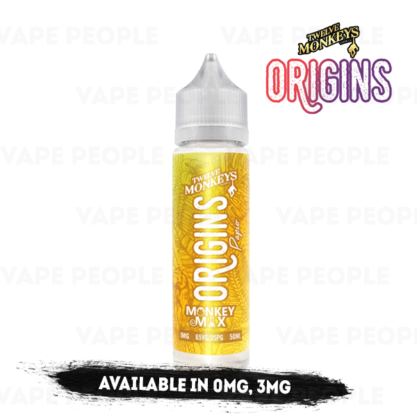 Papio vape liquid by Origins: 12 Monkeys Mix - 50ml Short Fill - Best E Liquids