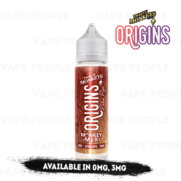 Patas Pipe vape liquid by Origins: 12 Monkeys Mix - 50ml Short Fill