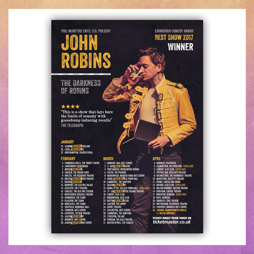 SIGNED - THE DARKNESS OF ROBINS TOUR POSTER
