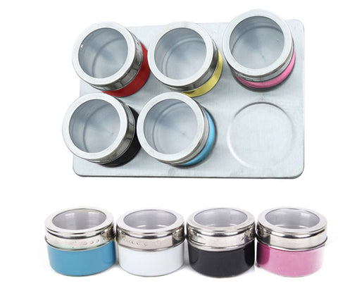 6 Stainless Steel Magnetic Spice Jars and a Rack