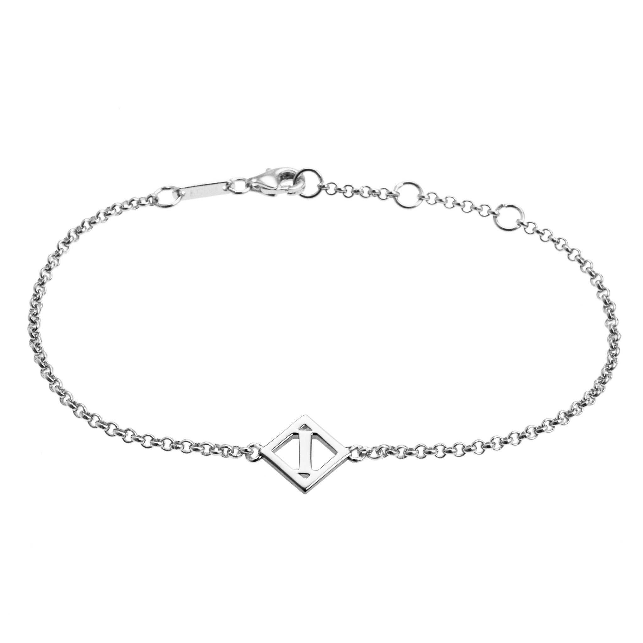 diamond tiny worters product claudetteworters original in silver claudette letter bracelet by