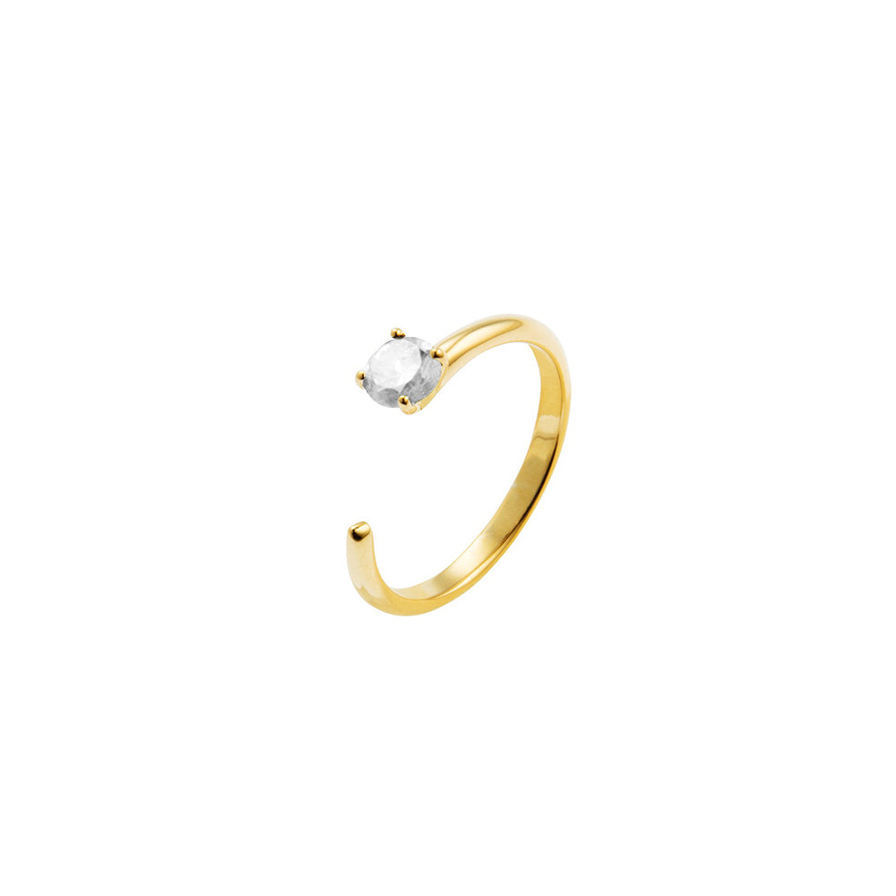 Irma Solitaire Ring Rock Crystal - Charlotte Bonde