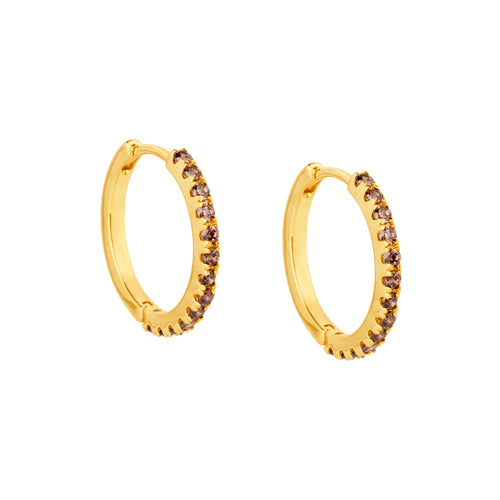 Irma Eternity Hoops Smoky Quartz - Charlotte Bonde