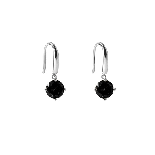 Irma Solitaire Hook Earrings Obsidian - Charlotte Bonde