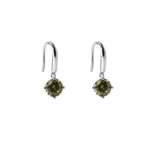 Irma Solitaire Hook Earrings Peridot - Charlotte Bonde