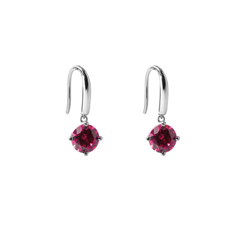 Irma Solitaire Hook Earrings Ruby - Charlotte Bonde Sthlm