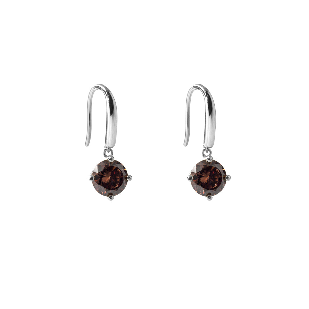 Irma Solitaire Hook Earrings Smoky Quartz - Charlotte Bonde