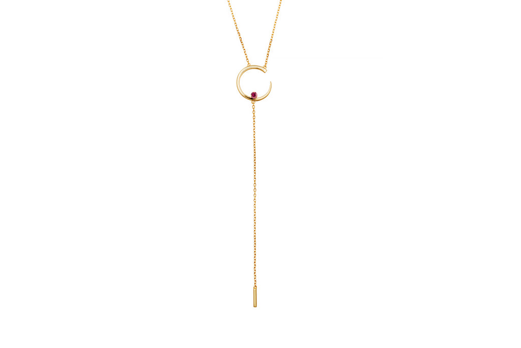 Irma Solitaire Necklace Ruby - Charlotte Bonde
