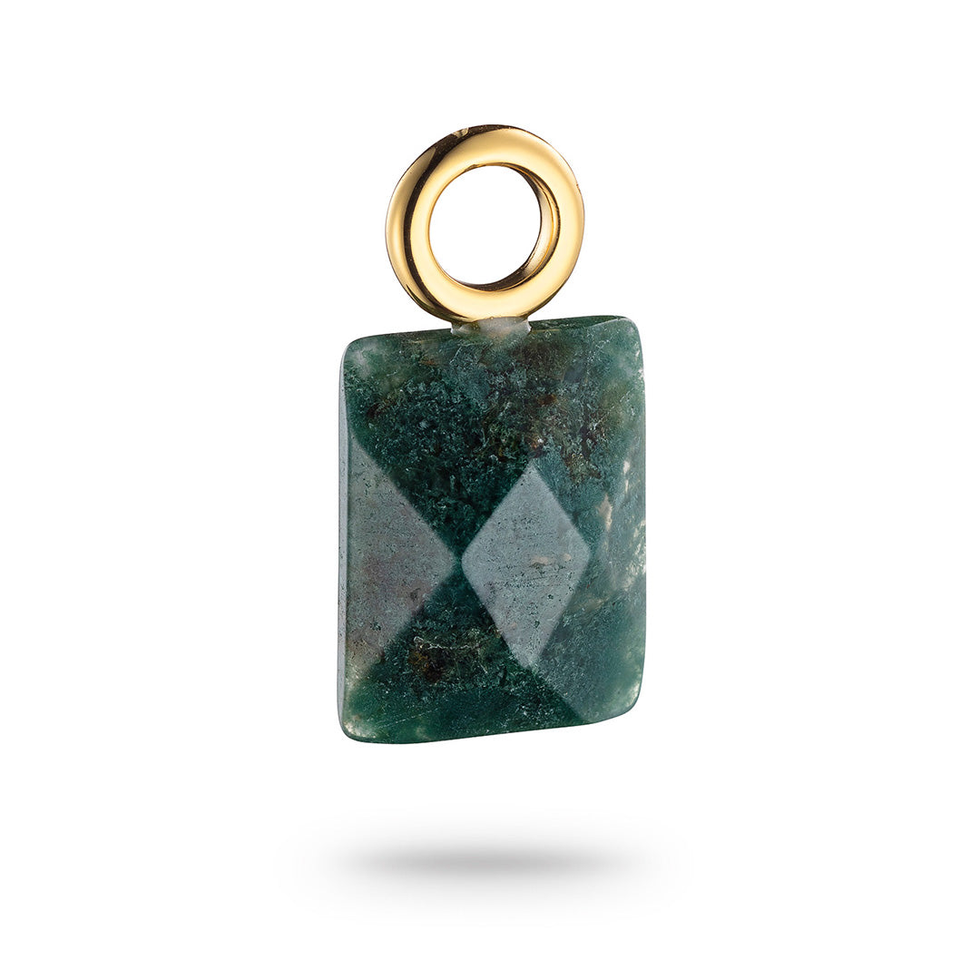 Signature Jet Square Pendant India Agate