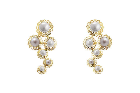 Louise Star Mix Earrings White Pearl