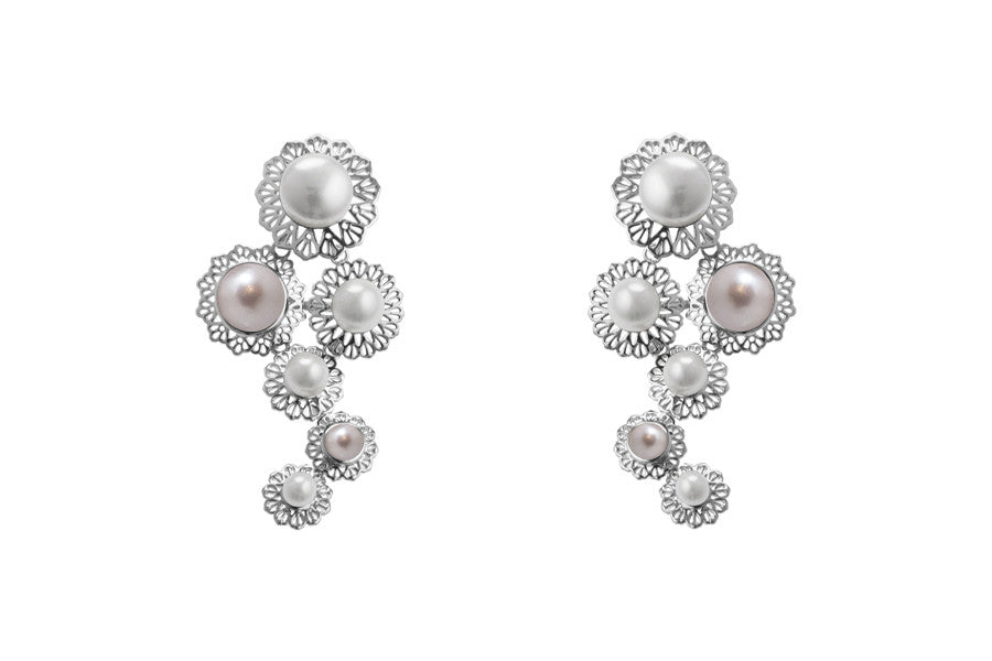 Louise Star Mix Earrings White Pearl - Charlotte Bonde