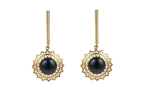 Louise Star Petite Earrings Black Pearl - Charlotte Bonde